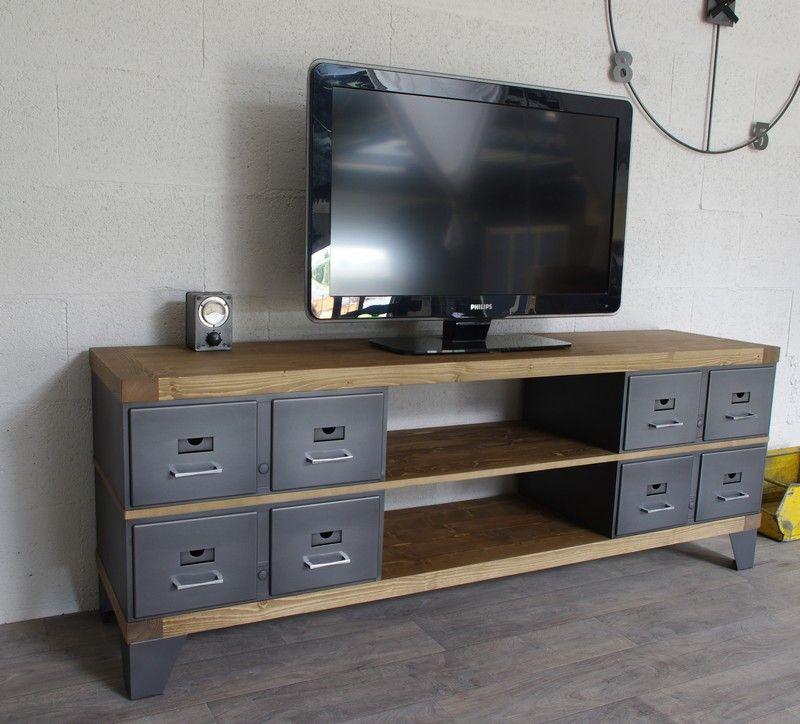 Meuble Tv En Acier Et Bois Industriel Chene Ou Epicea Ref Oakland Mobilier De Salon Meuble Idee Deco Industrielle