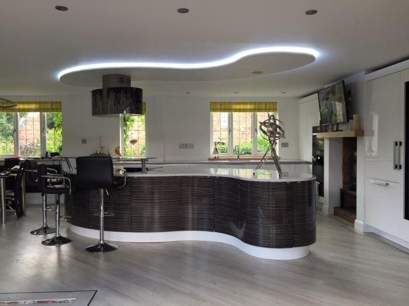 Modern Curved Kitchen Island lima kitchen ripple white gloss and black & white zebrano open