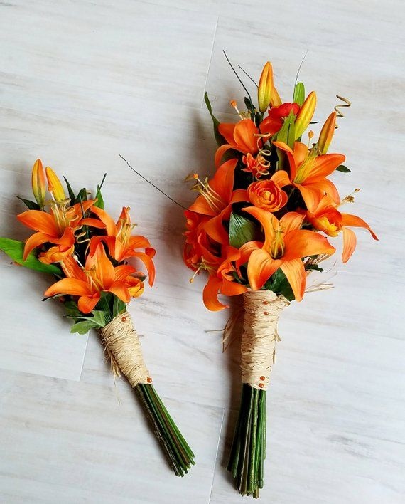 Items similar to Orange Lily Bridal Bouquets Wedding Flowers boutonnieres bridesmaid foliage destination Tiger Lilies Bokay Day Lily custom accessories on Etsy