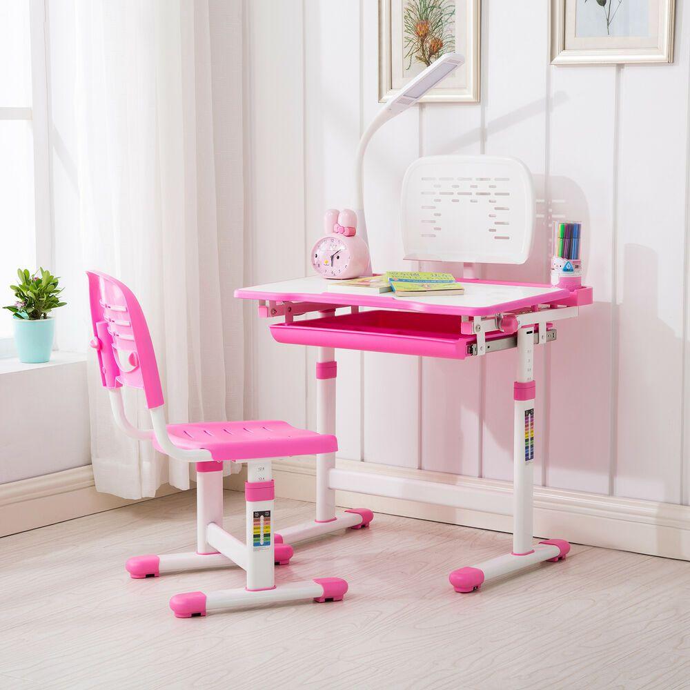 Pink Adjustable Children S Study Desk Chair Set Child Kids Table W Desk Lamp Desk And Chair Set Childrens Desk