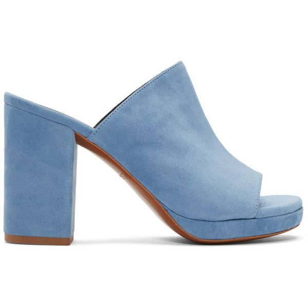 Robert Clergerie Blue Suede Abrice Mules (545,210 KRW) ❤ liked on Polyvore featuring shoes, sandals, heels, high heels, blue, blue shoes, slip on mules, slip on mule shoes, heeled mules and suede slip on shoes