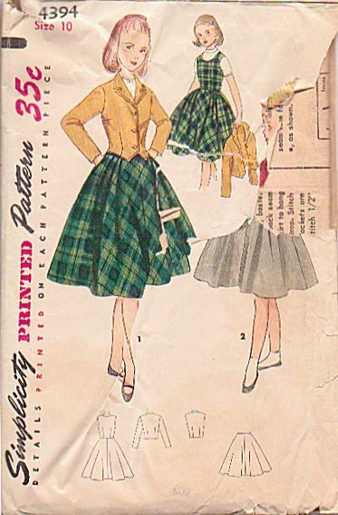 Vintage 1950s Girls Simplicity Sewing Pattern 4394 Girls Jumper ...