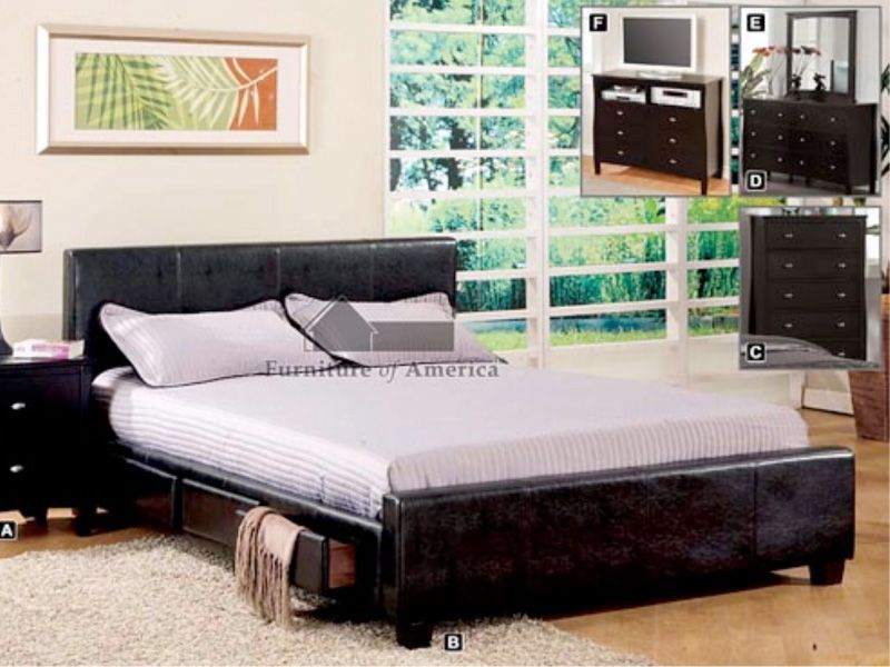 6 drawer leatherette queen platform bed frame