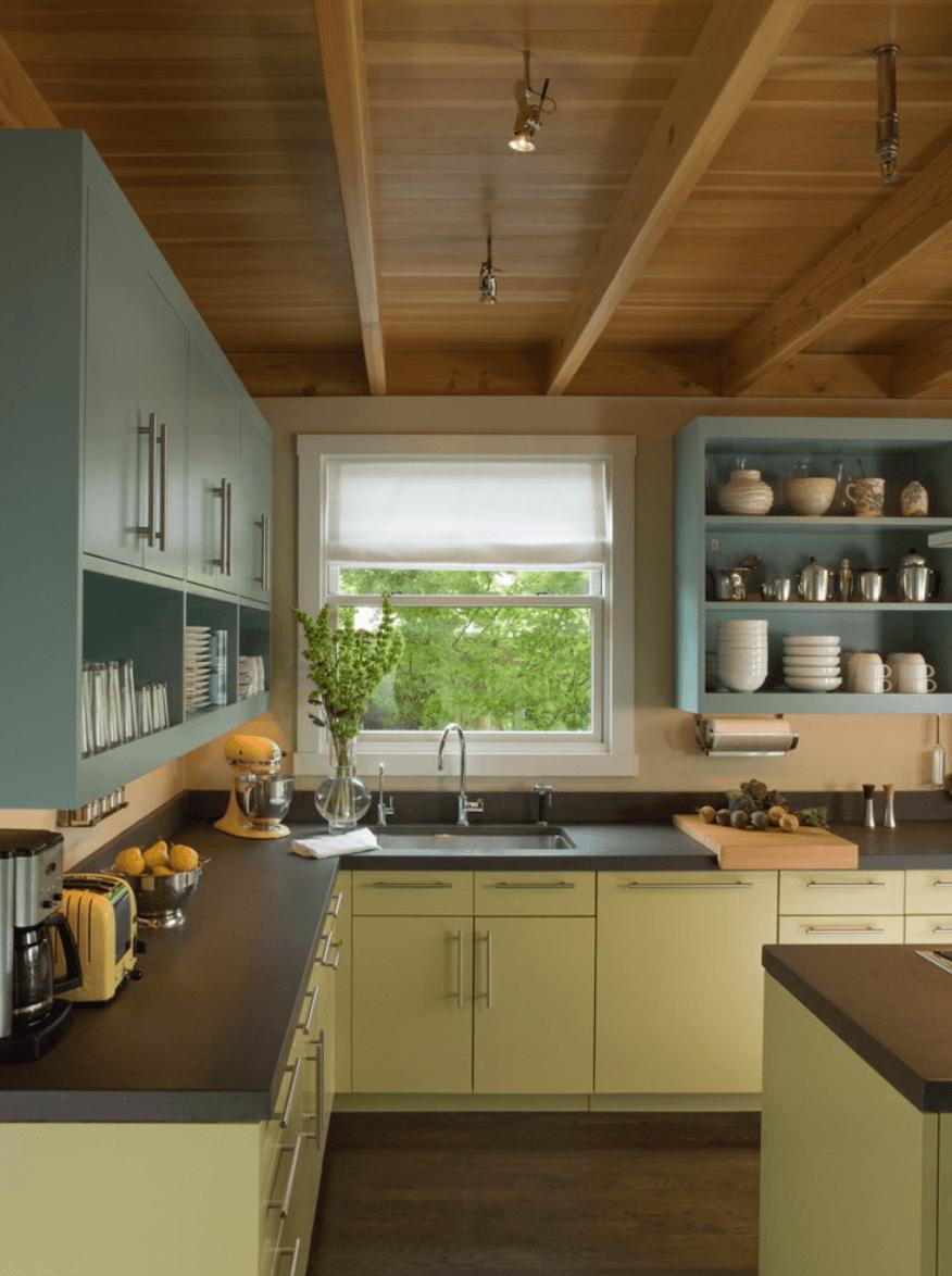 Dualtone Blue And Green Kitchen  Kitchens  Pinterest  Green Alluring Pinterest Painted Kitchen Cabinets Decorating Design