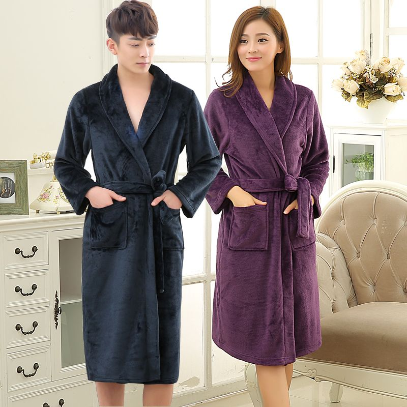 Click to Buy << New Lovers Soft as Silk Winter Warm Long Bathrobe ...