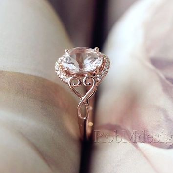 New Design 165ct Oval Cut 79mm Halo Diamond Ring 14k Rose Gold