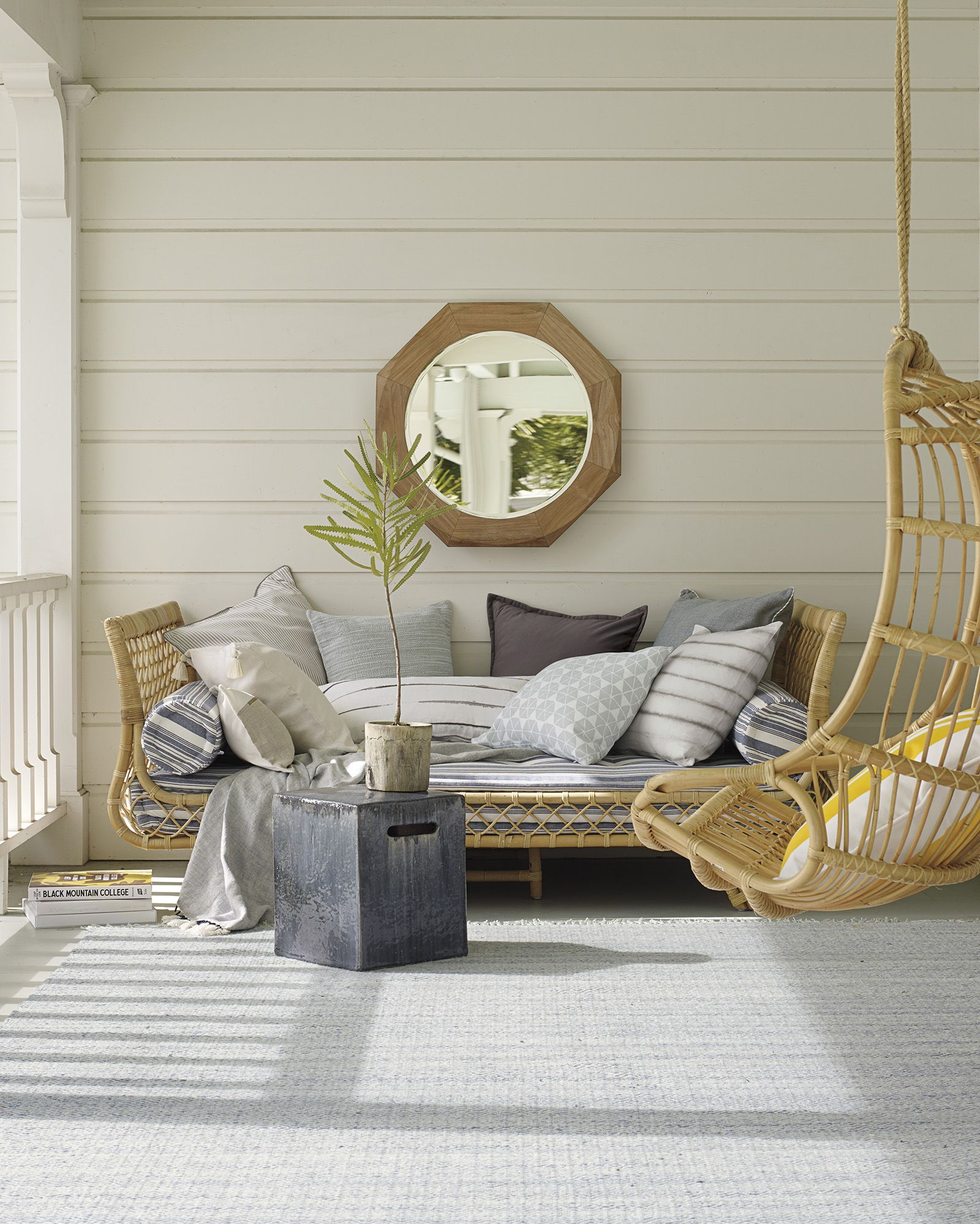 Front Porch Decorating Ideas With The Perfect Adirondack Chairs Our House Now A Home: Home Decor, Outdoor Daybed, Outdoor Mirror
