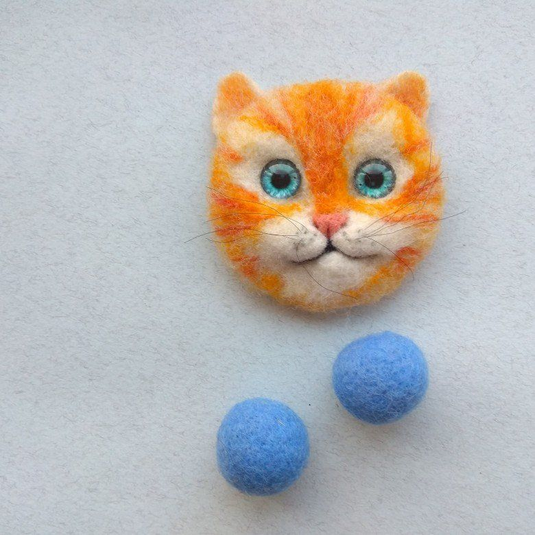 Needle felted cat brooch, Gift for women Needle felted
