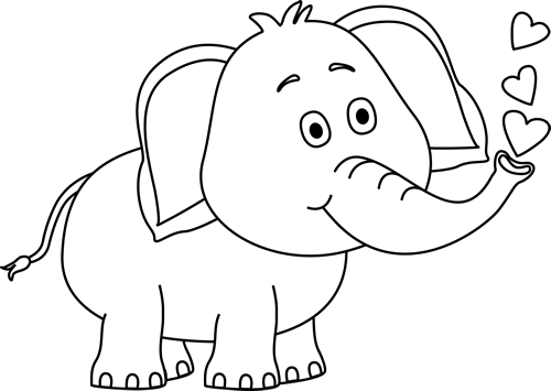 Black And White Elephant Blowing Hearts Clip Art Black And White Elephant Blowing Hearts Image Elephant Clip Art Elephant Images Elephant Drawing