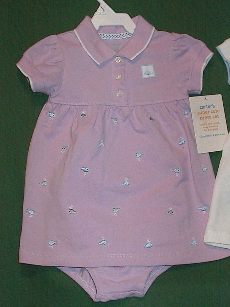 NEW CARTERS GIRLS Purple  LILAC POLO 2 Pc DRESS SET SZ 12M Everyday Cute NWT #Carters #Everyday