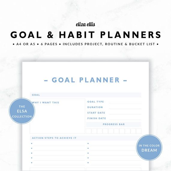 GOAL PLANNERS   Habit Tracker   2017 Planner   Project Planner - project checklist