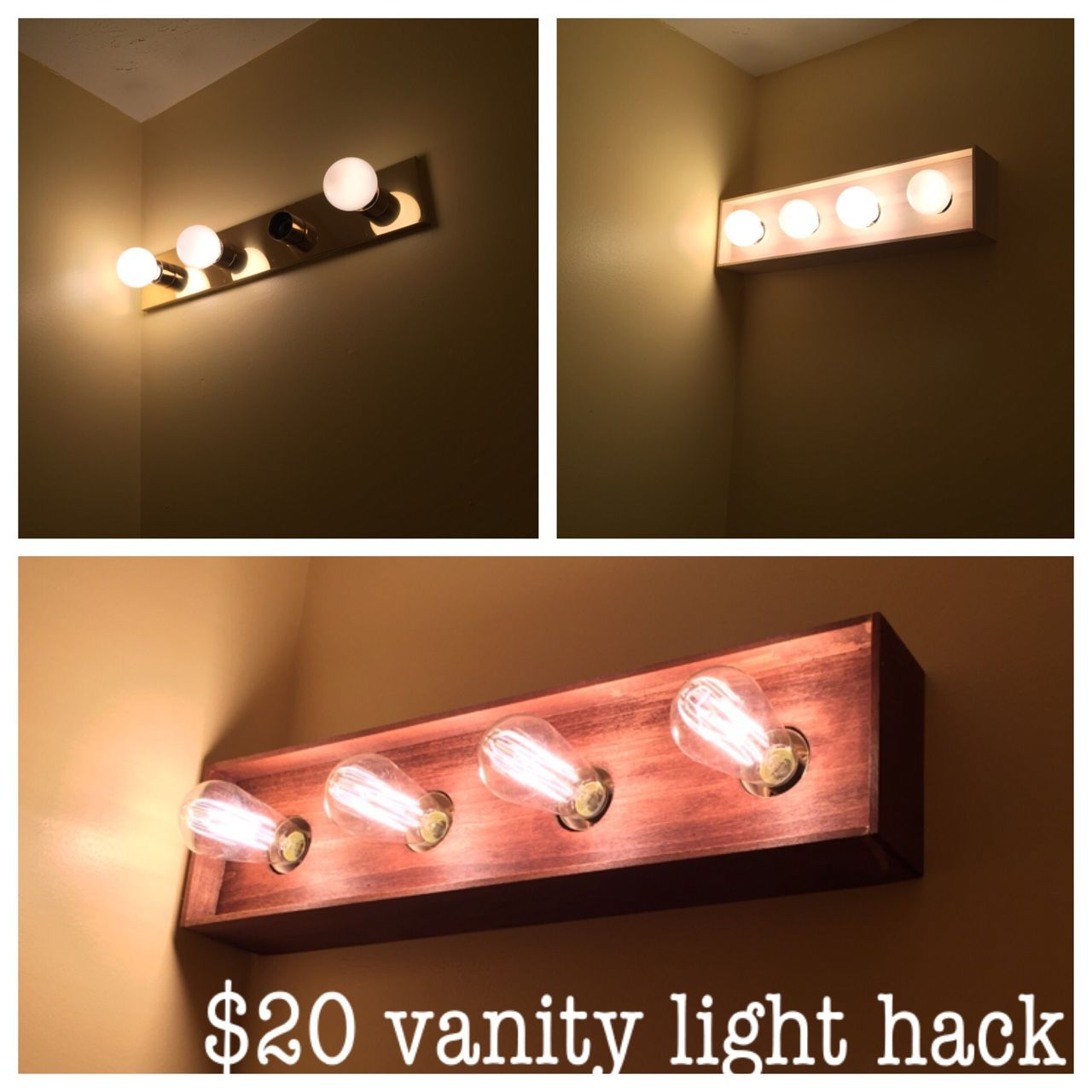 Bathroom Vanity Light Diy Makeover I Built A Thin Wood Box To Cover The Ugly