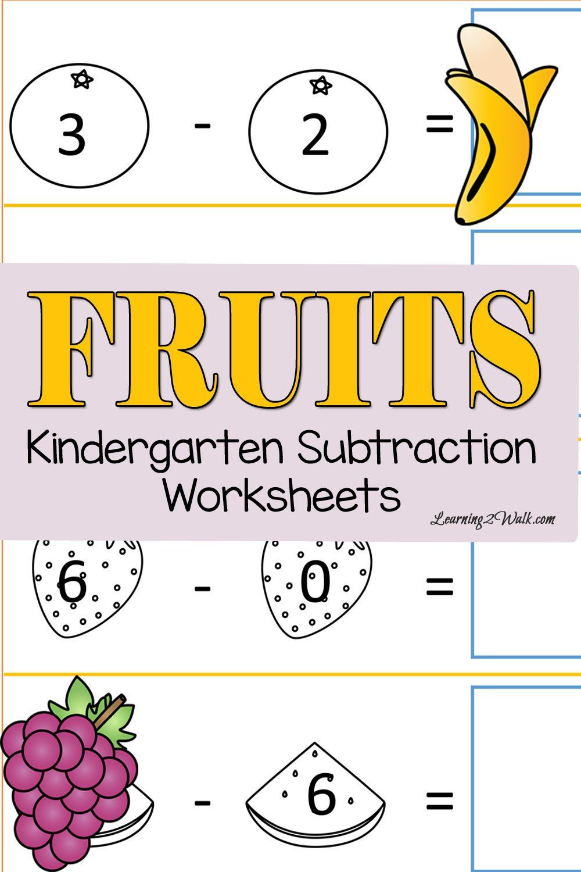 Fruits Cut and Paste Kindergarten Subtraction Worksheets | Pinterest ...