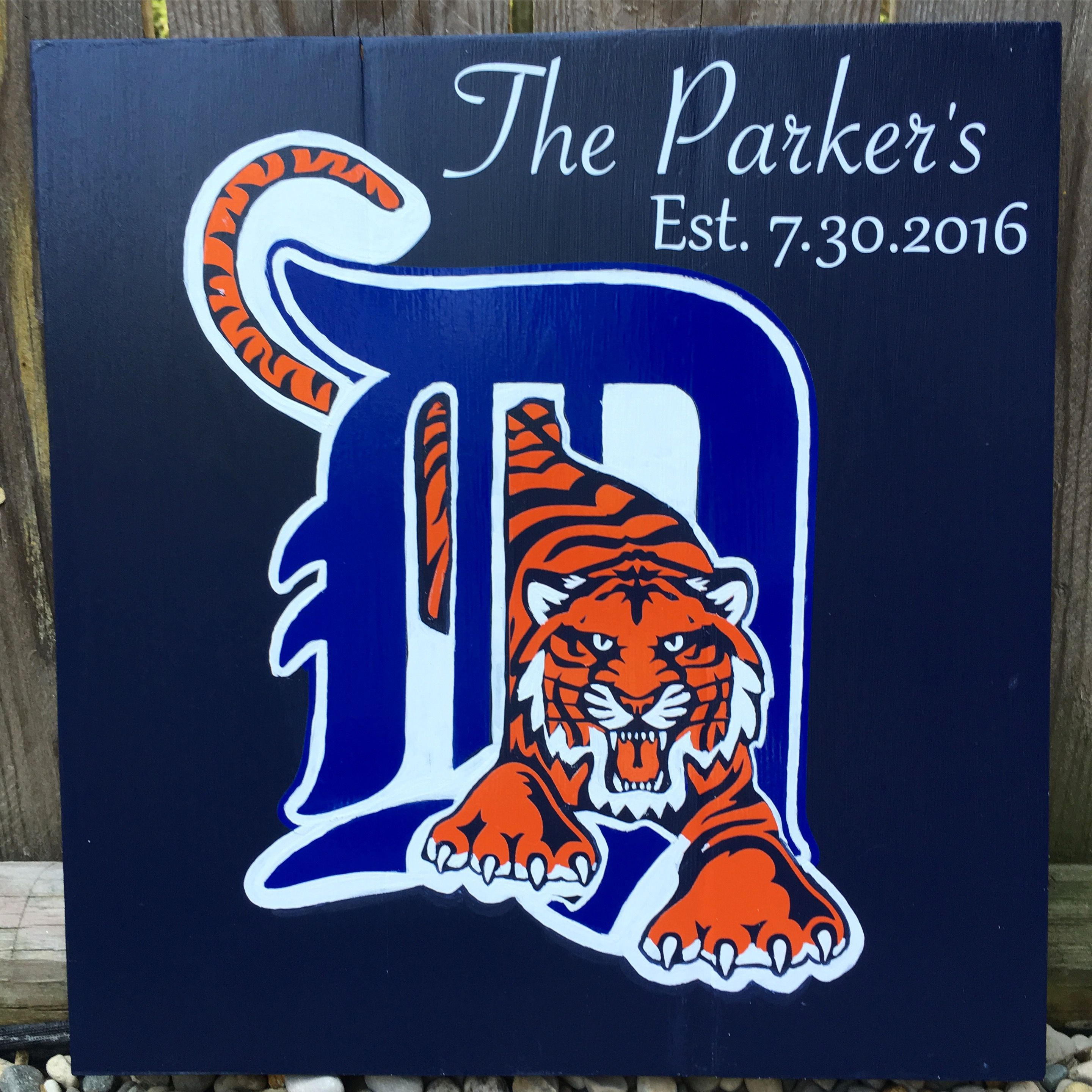 super popular 3539f 285bf Handmade Detroit Tigers wood sign with personalized names ...