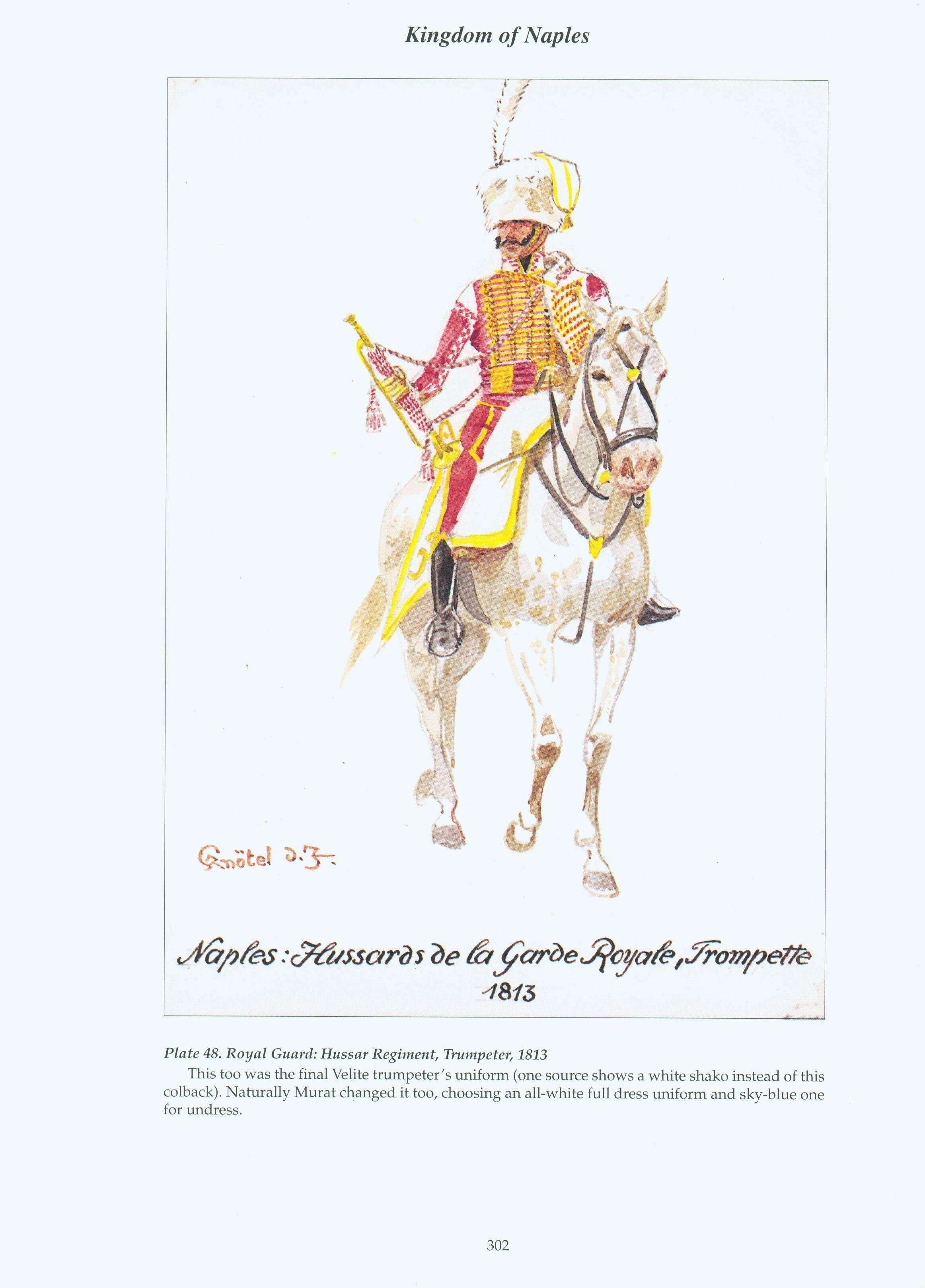Kingdom of Naples: Plate 48: Royal Guard: Hussar Regiment, Trumpeter, 1813.