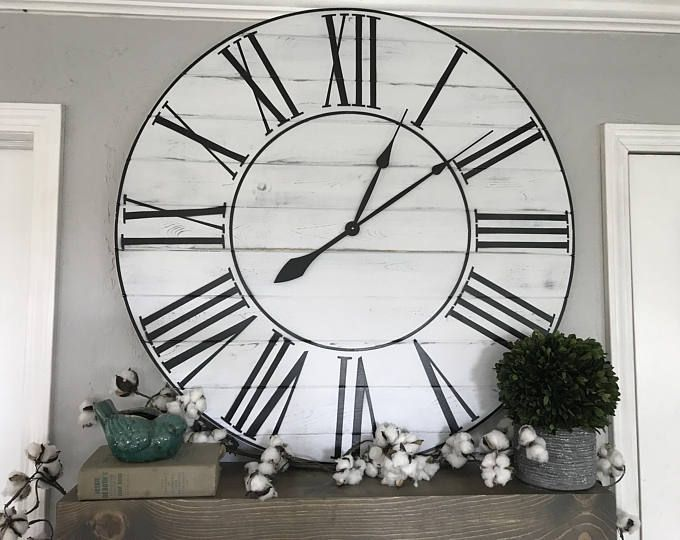 Big Wall Clock Whitewashed Roman Numeral Wall Clock Large Wall Clock