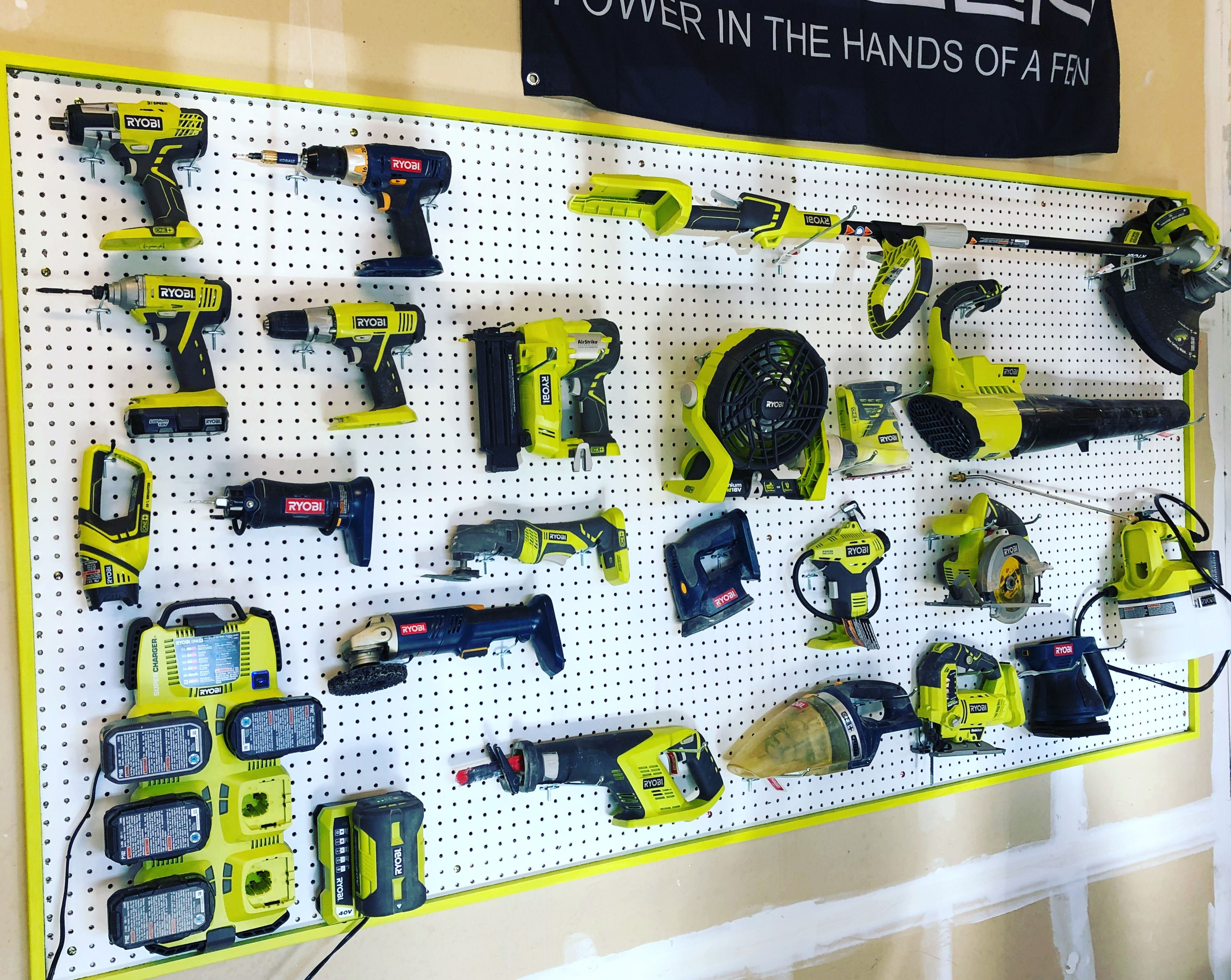 Ryobi Tool Wall Organizer I Used 4x8 Peg Board On Top Of 1x3 Furring Strips I Then Used 1x2 To Frame It I Took A Tool Into Peg Board Wall