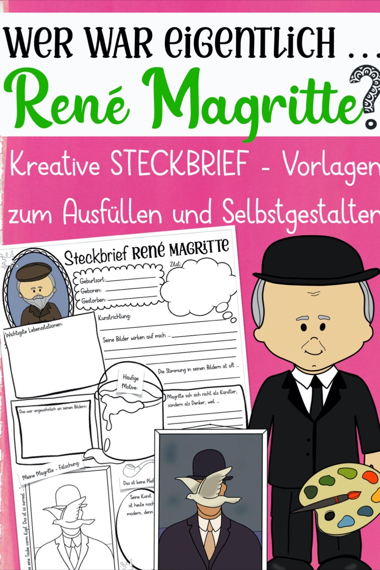 Rene Magritte Steckbrief Unterrichtsmaterial Im Fach Kunst Kunstunterricht Kunstler Grundschule Rene Magritte