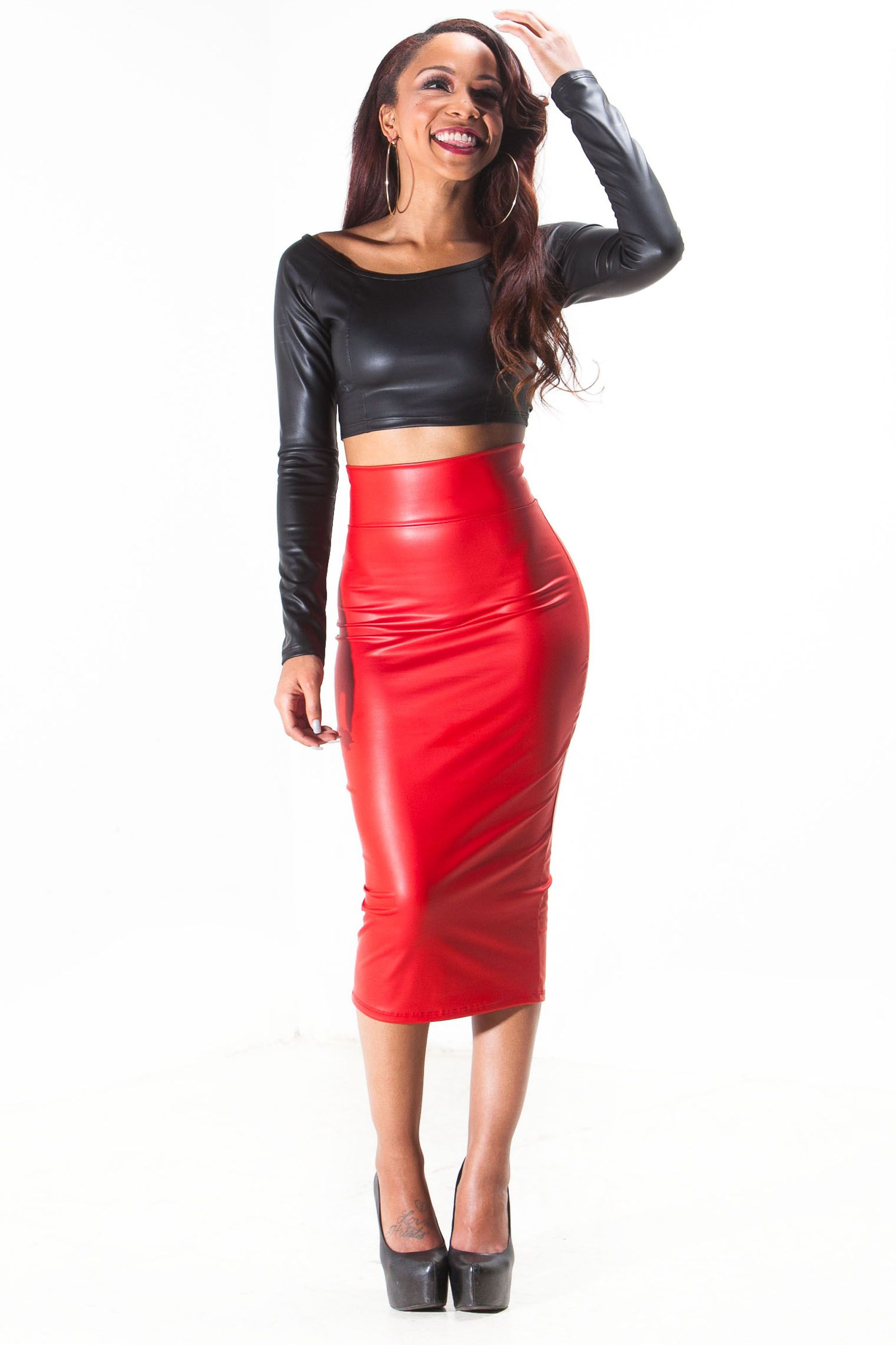 Faux Leather Pencil Skirt & Crop Top | Women: Style | Pinterest ...