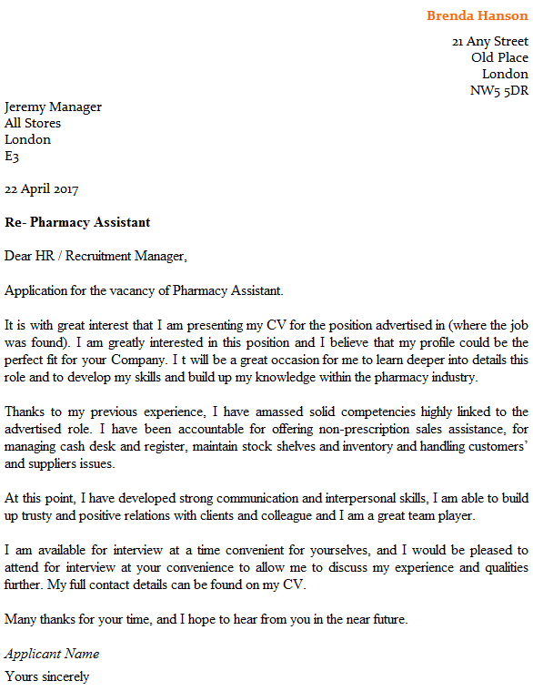 Pharmacy Assistant Cover Letter Example Icover Pharmacist Lettercv