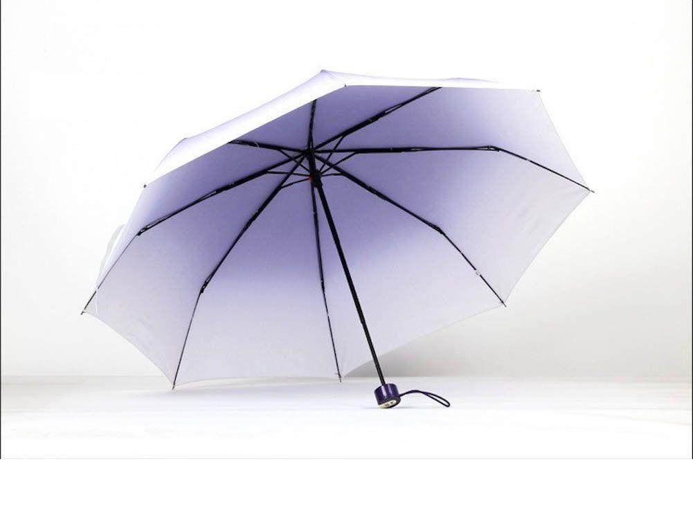 Purple Umbrella Fashion Pretty Gradient Color Anti Uv 3 Folding Sunny Rainy Parasol Umbrellas Rain Don T Get Left Purple Umbrella Umbrella Fashion Umbrella