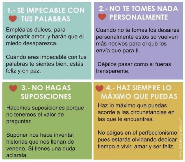 Esto Resume Un Gran Libro Los Cuatro Acuerdos De Don Miguel Ruiz Recomendado Completamente Conne Sabiduria Tolteca Libro Los 4 Acuerdos Frases Inspiradoras