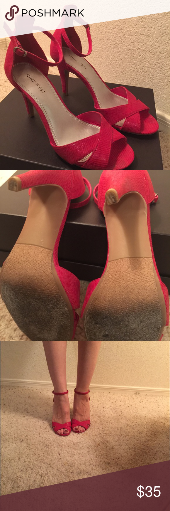 Nine West red ankle strap heels. Size 7. Nine West size 7 - ankle strap red heels. Only worn once - great condition, no scratches or nicks in the heels. Nine West Shoes Heels