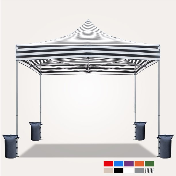 Victal 10 X 10 Pop Up Canopy With Straight Legs Wedding Party Tent Folding Gazebo Beach Canopy With Carry Bag White Walmart Com In 2020 Party Tent Beach Canopy Gazebo