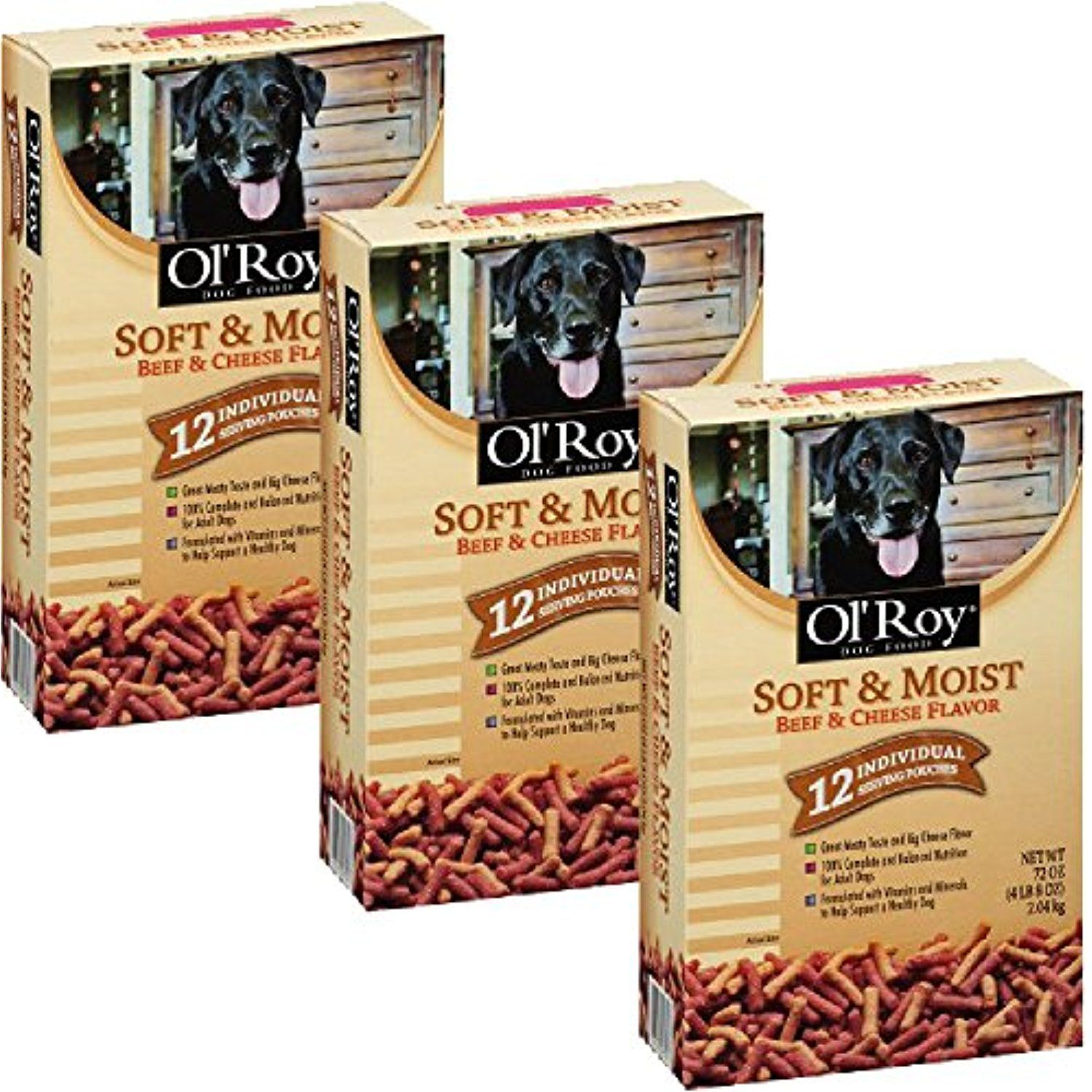 Ol Roy Soft Moist Beef Cheese Flavor Dog Food 72 Oz Box 12
