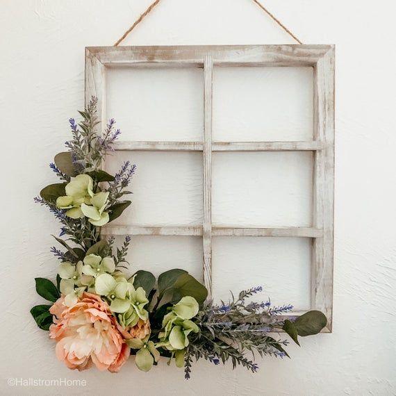 Photo of Shabby Chic Wreath/ Spring Wreath/ Window Frame Wreath/ Rustic Wood Wreath/ Farmhouse Decor Wreath/ Floral Wreath