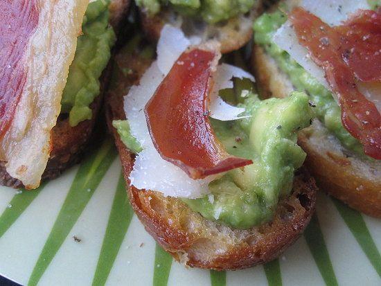 Crisped-Prosciutto and Avocado Crostini Recipe. yumm