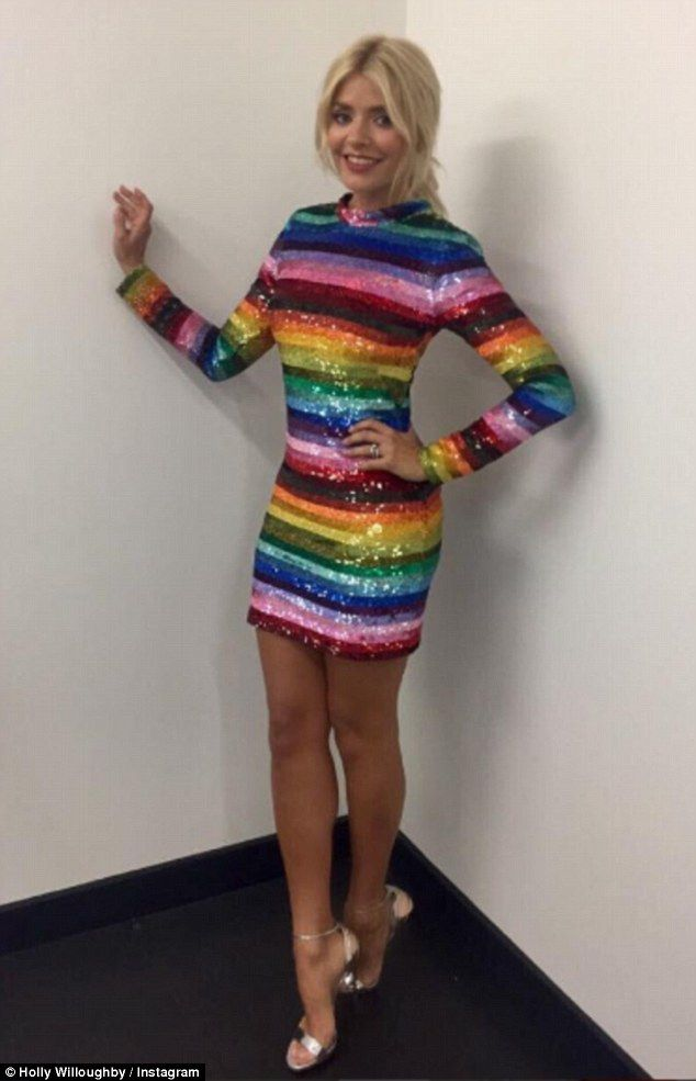 fbda097a7d68 Rainbow brights: Holly Willoughby shared an Instagram snap showing off her  slender figure in a stunning sequin mini dress on Thursday