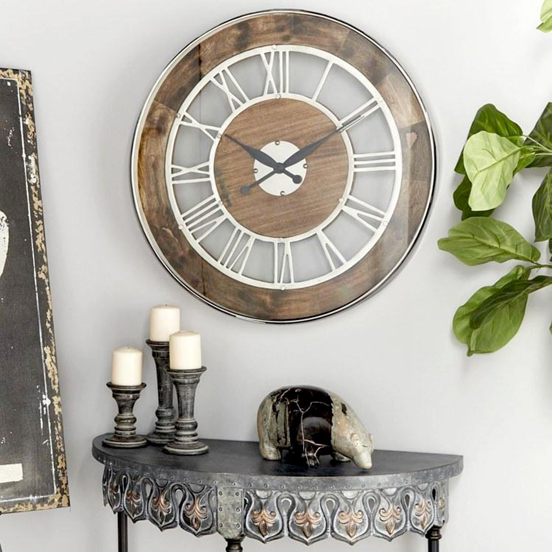 Wood And Metal Wall Clock With Roman Numerals In 2021 Oversized Wall Clock Black Wall Clock Metal Wall Clock