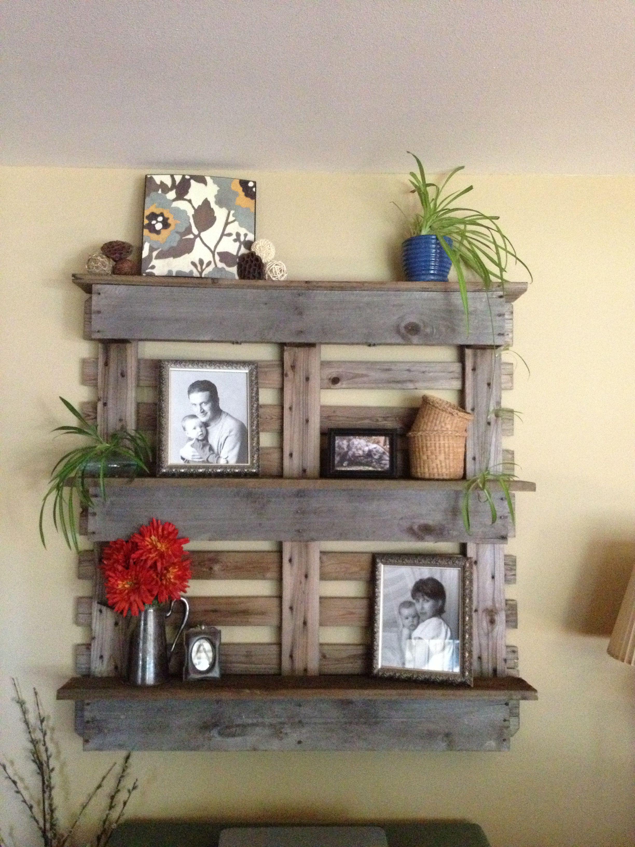We Made This Shelf Out Of A Pallet And Some