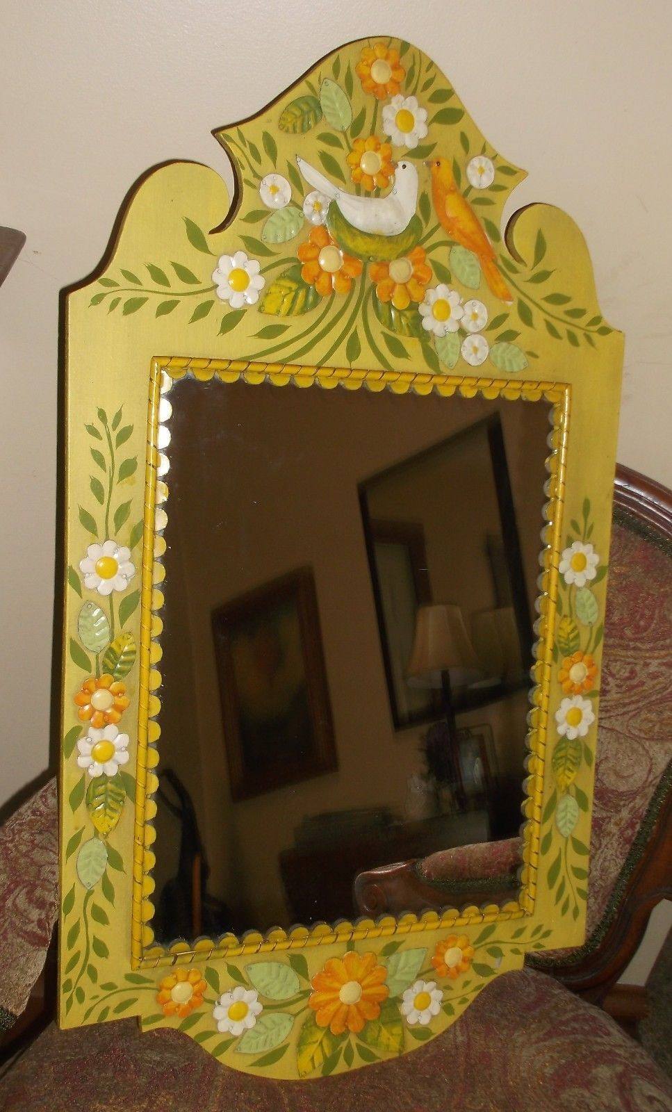 Vintage Mexican Folk Art Wall Mirror Wood Tin Flower Power & Love ...