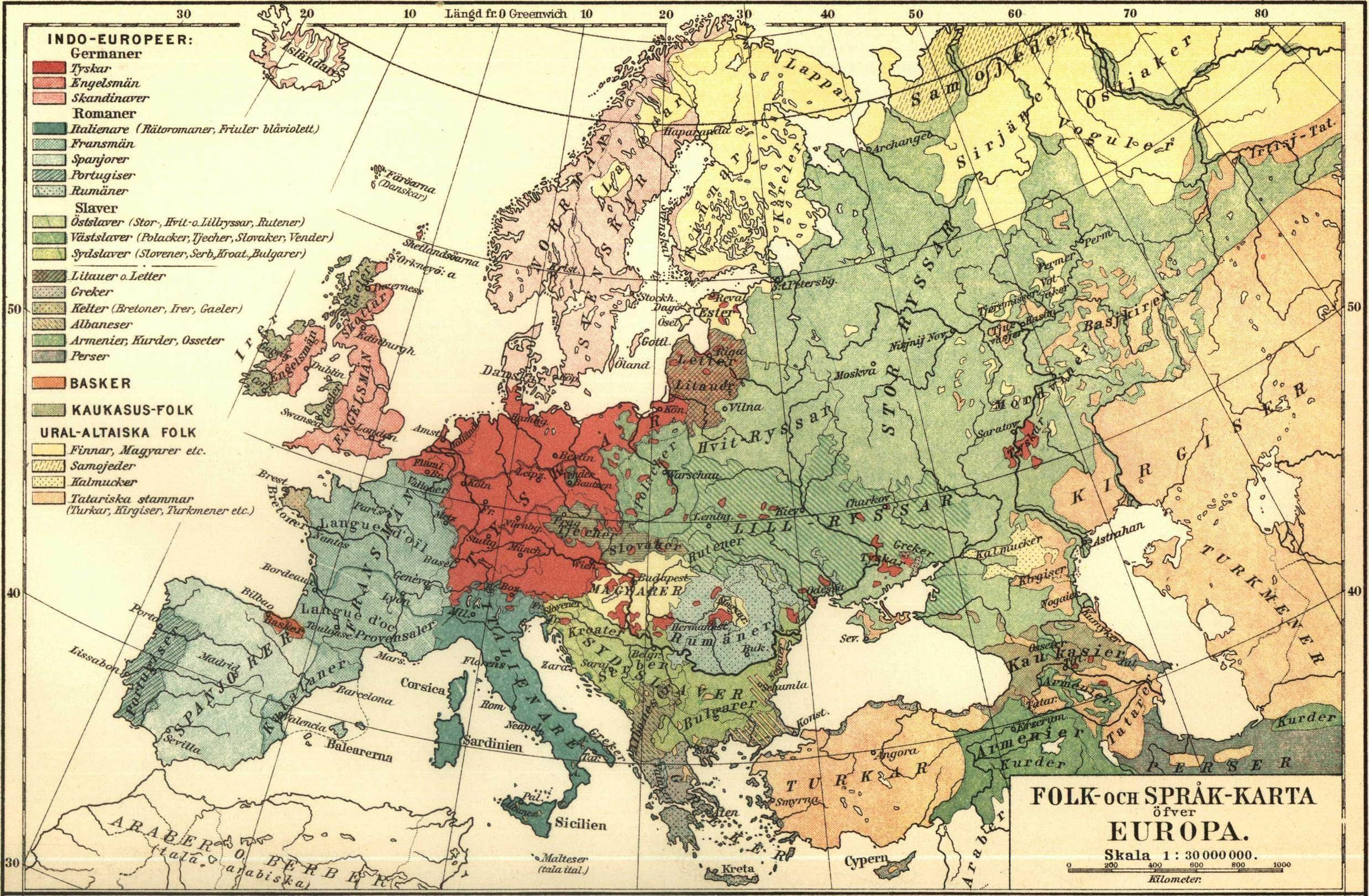 Swedish ethnic and language map of Europe (1907) | mapmania ... on aboriginal australian languages map, ethnic group map, world language families map, european language map,