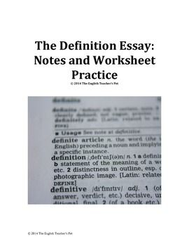 Definition Essay Notes And Activities  Teaching Ideas  Pinterest  Included In This  Page Document Are Lecture Or Handout Notes Giving Tips  And Topics To Assist Students In Their Prewriting Process For A Definition  Essay