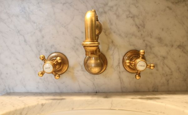 Sigma faucet unlacquered brass wall mount cross handles | French ...