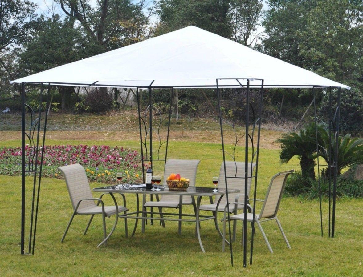 Steel Gazebo White Canopy Tent Metal Frame Garden Decoration ...