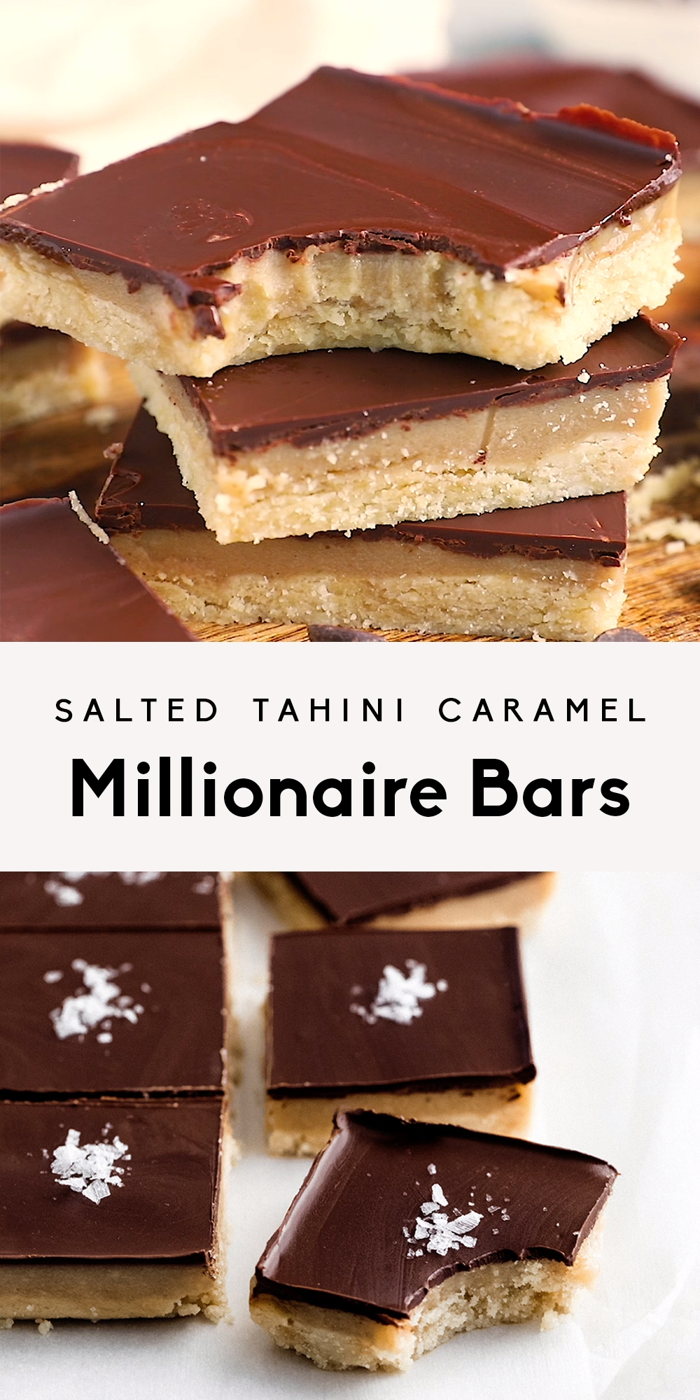 Salted Tahini Caramel Millionaire Bars (vegan + paleo)