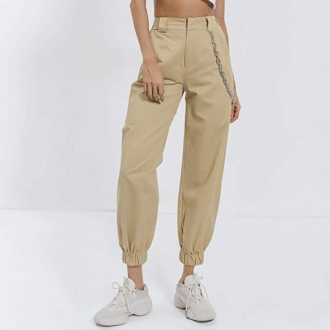 Risthy Pantalones Cargo Mujer Hip Hop Danza Pantalon Harem Pantalones Largos Cintura Alta Casual Pantalones Cargo Mujer Pantalones Con Cadenas Pantalones Cargo
