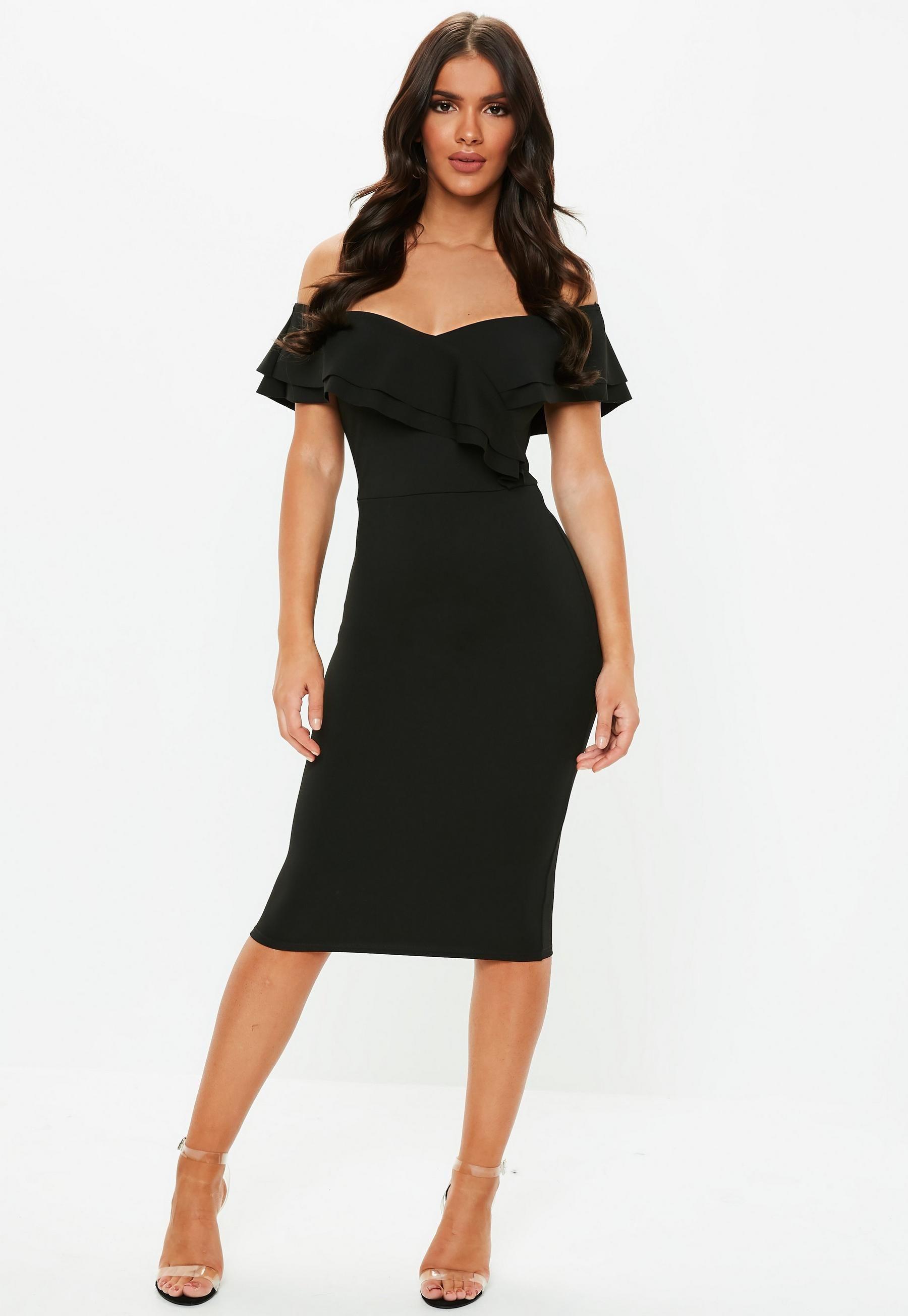 Black Frill Bardot Midi Dress Missguided Trending Dresses Dresses Formal Elegant Womens Dresses [ 2608 x 1800 Pixel ]