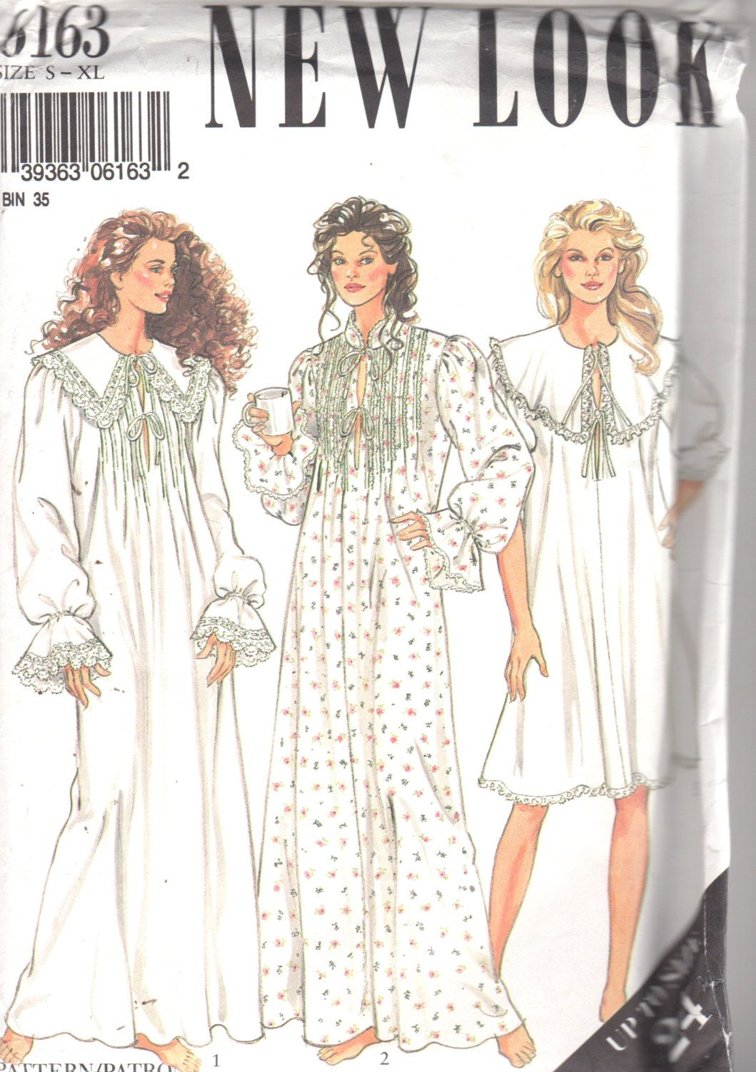 New Look 6163 Misses Victorian Style Nightgown Pattern Tucked Cape ...