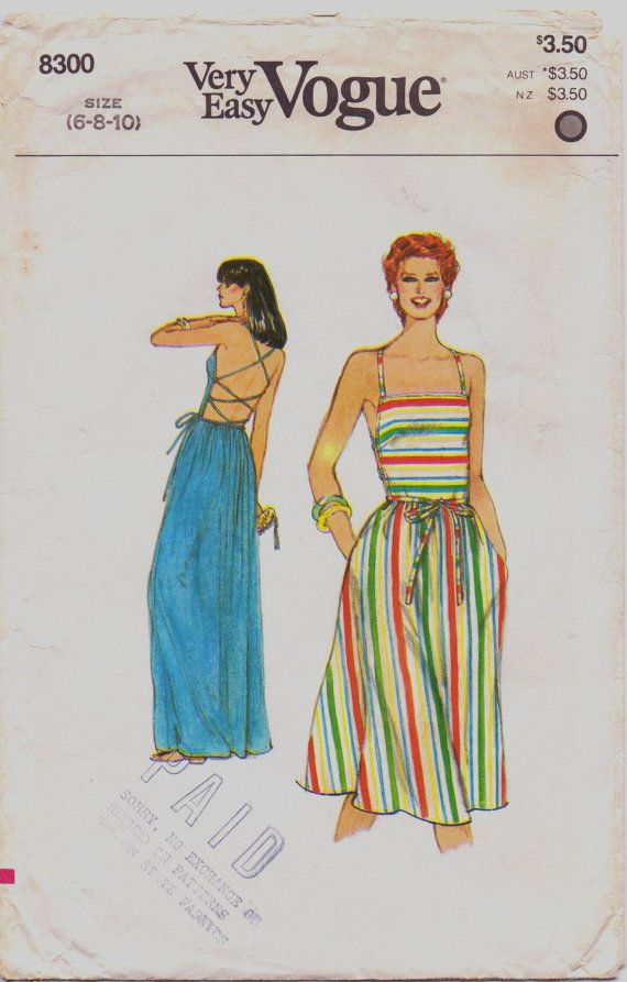 80s Very Easy Vogue Pattern 8300 Womens Day or Evening Halter Dress ...