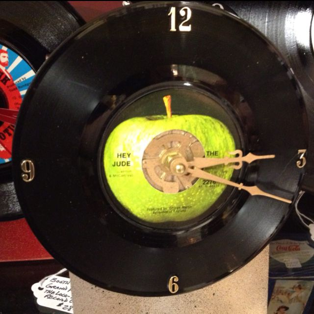 Children, this is called a vinyl record.  Think of it at as a really inefficient version of an iPod.  This one has been turned into a clock.  Seen at an Antique shop in Dahlonega, GA. I will recreate this someday (with more modern looking clock hands and numbers, but definitely a record from the Beatles.)