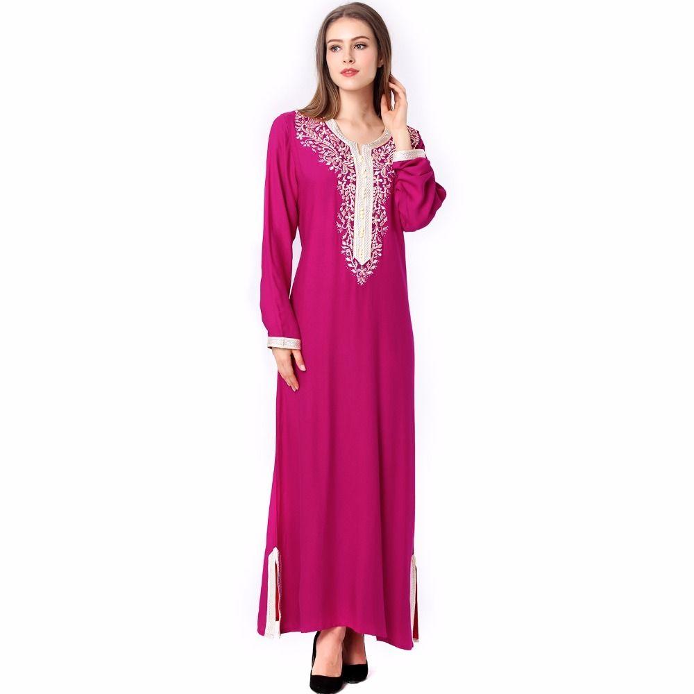Muslim women Long sleeve hijab Dress maxi abaya jalabiya islamic ...