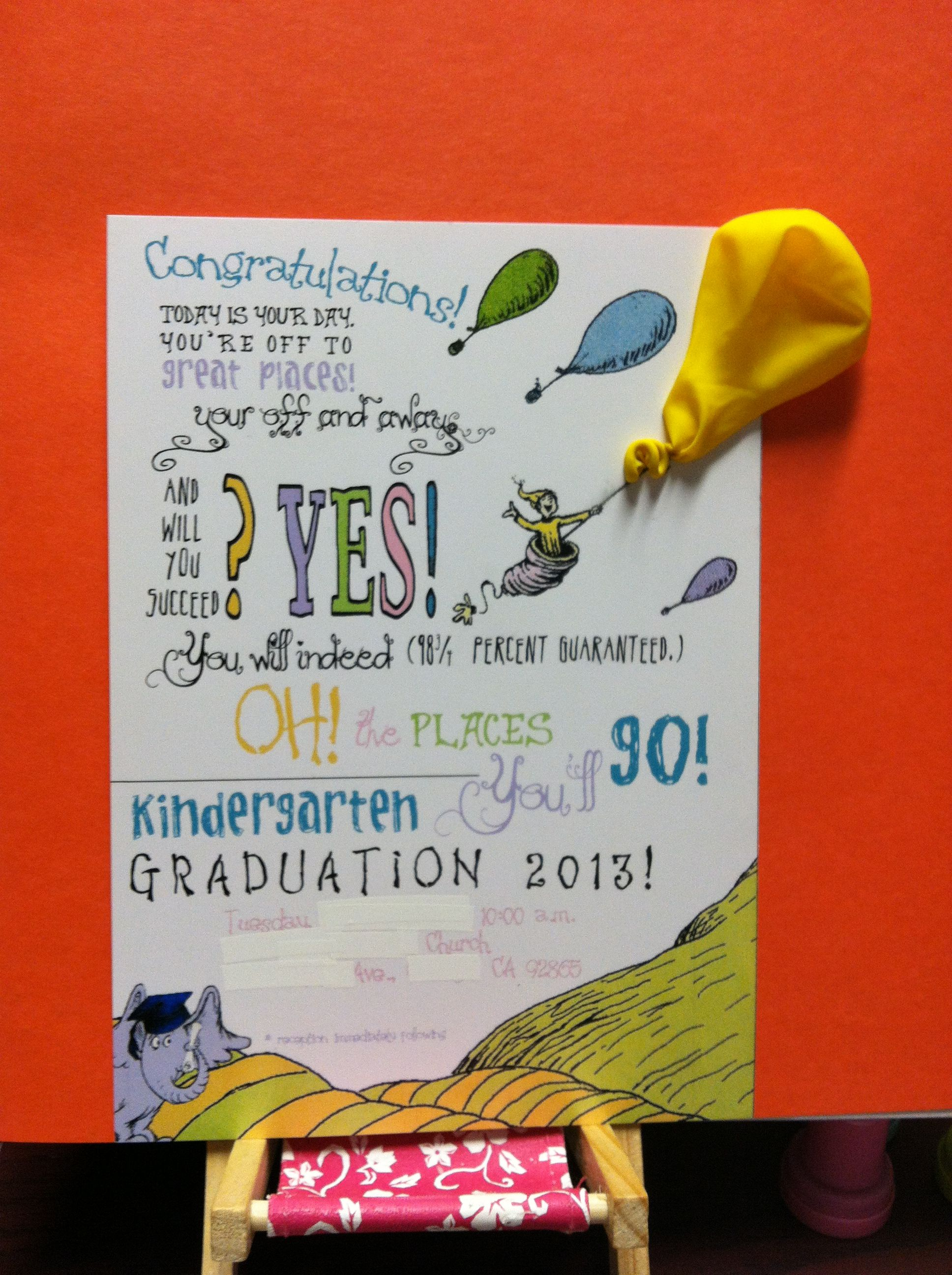 Oh The Places You Ll Go Kindergarten Graduation Invitation