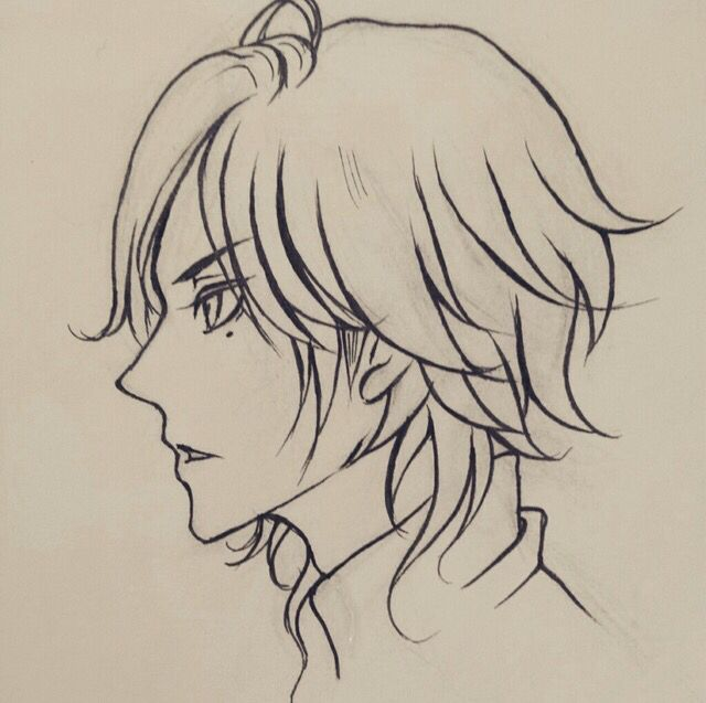 Anime Guy Profile View Ponytail Drawing Profile Drawing Anime Sketch