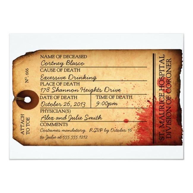 Antique Toe Tag Invitation  Morgue  Halloween Ships worldwide