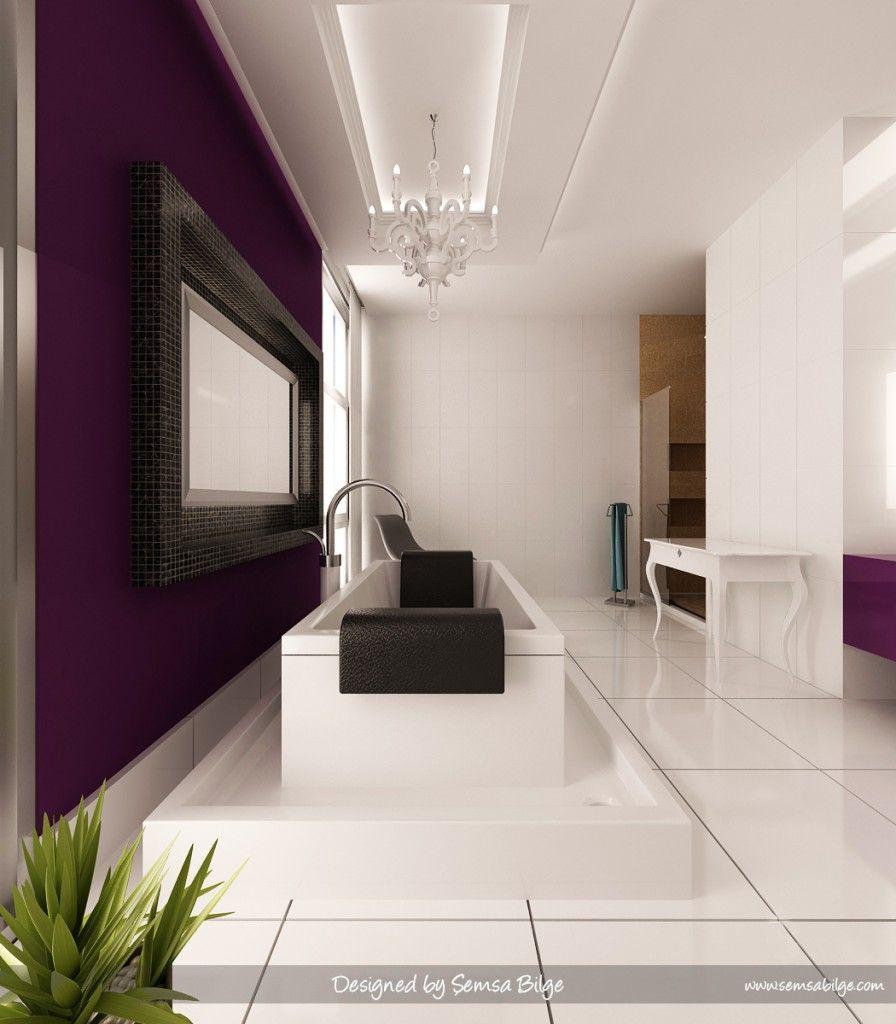 purple and gray bathroom ~ fujise